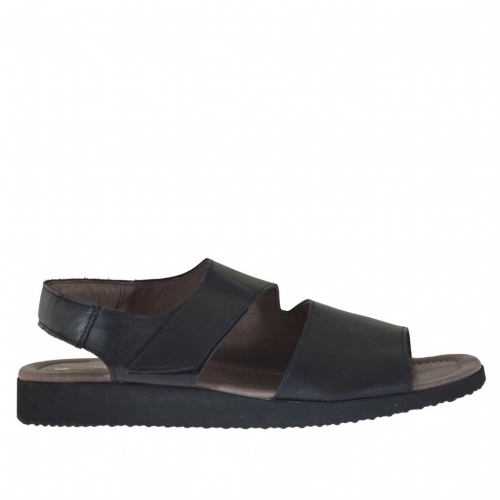 Men's sandal with two bands and velcro in black leather