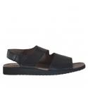 Sandale pour hommes avec deux bandes et fermeture velcro en cuir noir