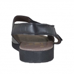 Sandale pour hommes avec deux bandes et fermeture velcro en cuir noir - Pointures disponibles:  46, 47, 48