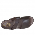 Men's sandal with two bands and velcro in dark brown leather