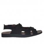 Sandale pour hommes avec deux bandes de fermeture velcro en nubuck noir - Pointures disponibles:  46, 47, 48