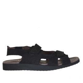 Sandale pour hommes avec deux bandes de fermeture velcro en nubuck noir - Pointures disponibles:  46, 47