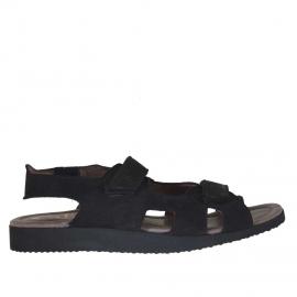 Sandalo da uomo con due fasce velcro in nabuk nero - Misure disponibili: 46, 47
