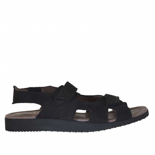 Men's sandal with two velcro bands in black nubuck
