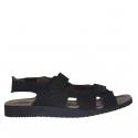 Sandale pour hommes avec deux bandes de fermeture velcro en nubuck noir