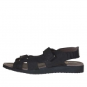 Men's sandal with two velcro bands in black nubuck - Available sizes:  46, 47