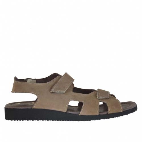 Sandale pour hommes avec deux bandes de fermeture velcro en nubuck taupe - Pointures disponibles:  47
