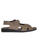 Sandale pour hommes avec deux bandes de fermeture velcro en nubuck taupe