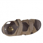 Sandalo da uomo con due fasce velcro in nabuk taupe - Misure disponibili: 47