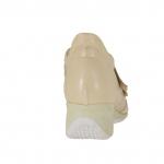 Chaussure pour femmes avec fermeture velcro en cuir beige talon compensé 5 - Pointures disponibles:  42