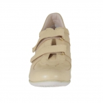 Woman's shoe in beige leather with velcro fasteners wedge 5 - Available sizes:  42