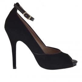 Scarpa da donna aperta in punta con cinturino e plateau in camoscio e pelle nera tacco 11 - Misure disponibili: 42