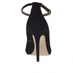 Woman's open toe strap shoe with platform in black suede and leather heel 11