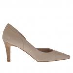 Escarpin pour femmes ouvert sur un côté en cuir beige talon 7 - Pointures disponibles: