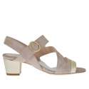 Woman's sandal in taupe suede and platinum leather heel 4.5