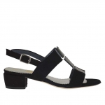 Woman's sandal in black suede and patent leather and silver leather wedge 3