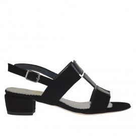 Sandalo da donna in camoscio e vernice nera e pelle argento tacco 3 - Misure disponibili: 31, 45