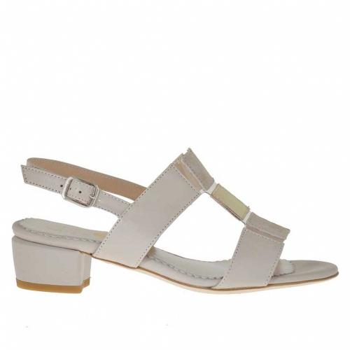 Sandale pour femmes en cuir beige et platine et daim beige talon 3 - Pointures disponibles:  31