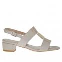Sandale pour femmes en cuir beige et platine et daim beige talon 3