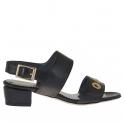 Sandale pour femmes avec goujons percé or en cuir noir talon 3