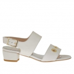 Woman's sandal with pierced golden studs in white leather heel 3 - Available sizes:  31