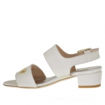 Woman's sandal with pierced gold studs in ivory leather heel 3