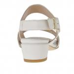 Sandale pour femmes avec goujons percé or en cuir ivoire  talon 3 - Pointures disponibles:  31, 45