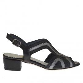 Sandalo da donna in pelle nera e argento tacco 3 - Misure disponibili: 31