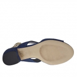 Woman's sandal in blue suede and platinum leather heel 3 - Available sizes:  46