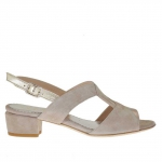 Woman's sandal in taupe suede and platinum leather heel 3