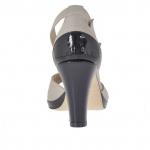 Escarpin ouvert pour femmes avec courroie et plateforme en cuir boue et cuir verni noir talon 8 - Pointures disponibles: