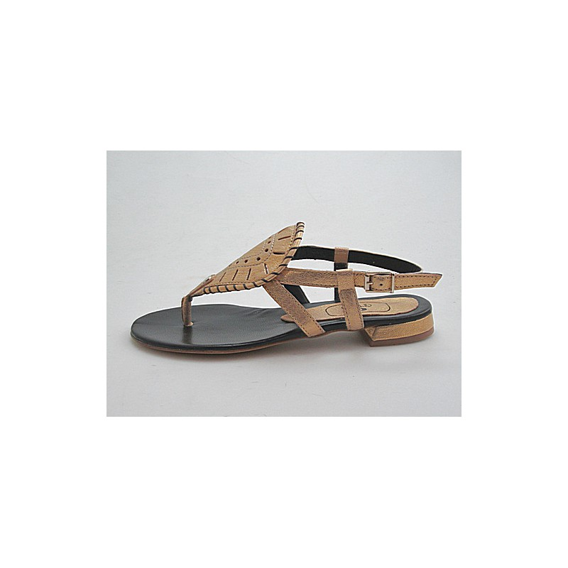 Sandalia infradedo en piel color oro tacon 1 - Tallas disponibles:  32