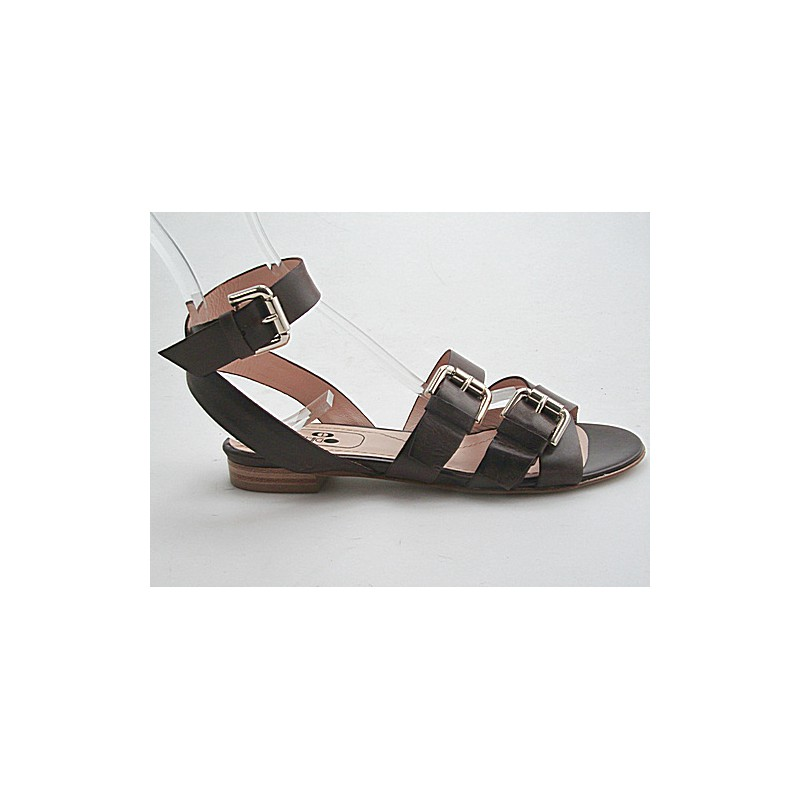 Sandal with strap and buckles in dark brown leather heel 1 - Available sizes:  32