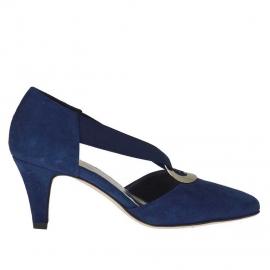 Scarpa aperta da donna in camoscio blu con elastico e anello metallico tacco 6 - Misure disponibili: 45