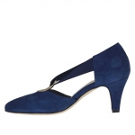 Woman's open shoe with elastic band and metallic ring in blue suede heel 6