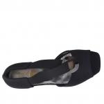 Escarpin ouvert pour femmes avec elastique et cercle métallique en tissu noir talon compensé 3 - Pointures disponibles:  31