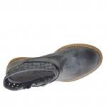 Bottines pour femmes avec boucle et fermeture éclair en cuir antique perforé noir - Pointures disponibles:  32