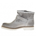 Woman's pierced boot with buckle and zipper in grey vintage leather  - Available sizes:  32