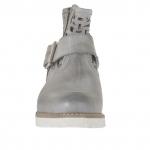 Bottines pour femmes avec boucle et fermeture éclair en cuir antique perforé gris - Pointures disponibles:  32