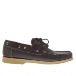 Men's casual laced shoe in dark brown leather