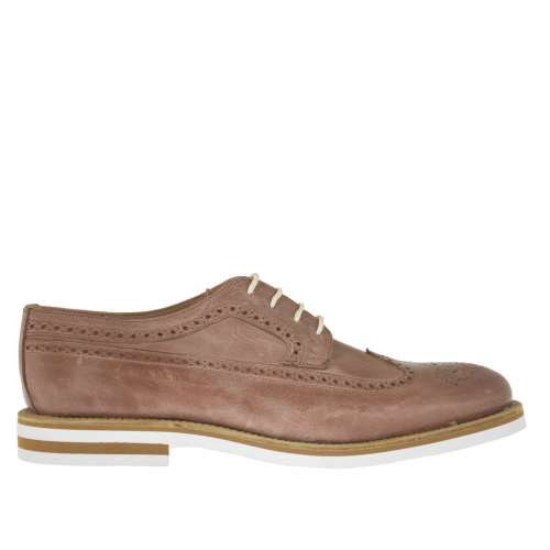 Men's laced derby shoe with Brogue decorations in tan-coloured vintage leather - Available sizes:  46, 47