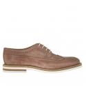 Chaussure derby pour hommes avec lacets et bout Brogue en cuir antique brun clair