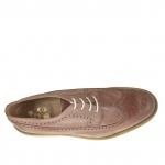 Chaussure derby pour hommes avec lacets et bout Brogue en cuir antique brun clair - Pointures disponibles:  46, 47