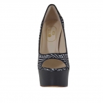 Woman's open strap shoe in black leather and optical printed suede with platform heel 15