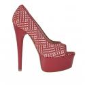 Escarpin ouvert pour femmes en cuir rouge et daim imprimé optical avec plateforme talon 15