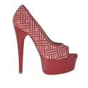 Woman's open strap shoe in red leather and optical printed suede with platform heel 15