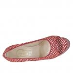 Escarpin ouvert pour femmes en cuir rouge et daim imprimé optical avec plateforme talon 15 - Pointures disponibles:  31
