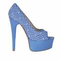 Woman's open shoe in blue leather and optical printed suede with platform heel 15