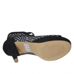Woman's open laced shoe in optical printed black suede with platform and heel 12