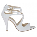 Woman's open pump with zipper and two straps in white leather with platform and heel 9